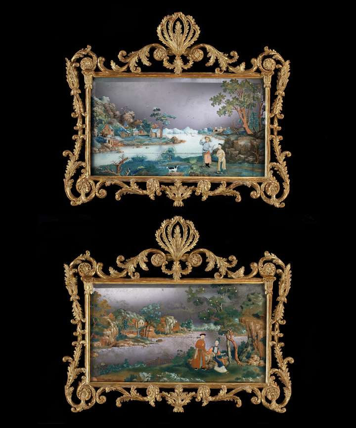 A PAIR OF GEORGE III CHINESE EXPORT MIRROR PAINTINGS