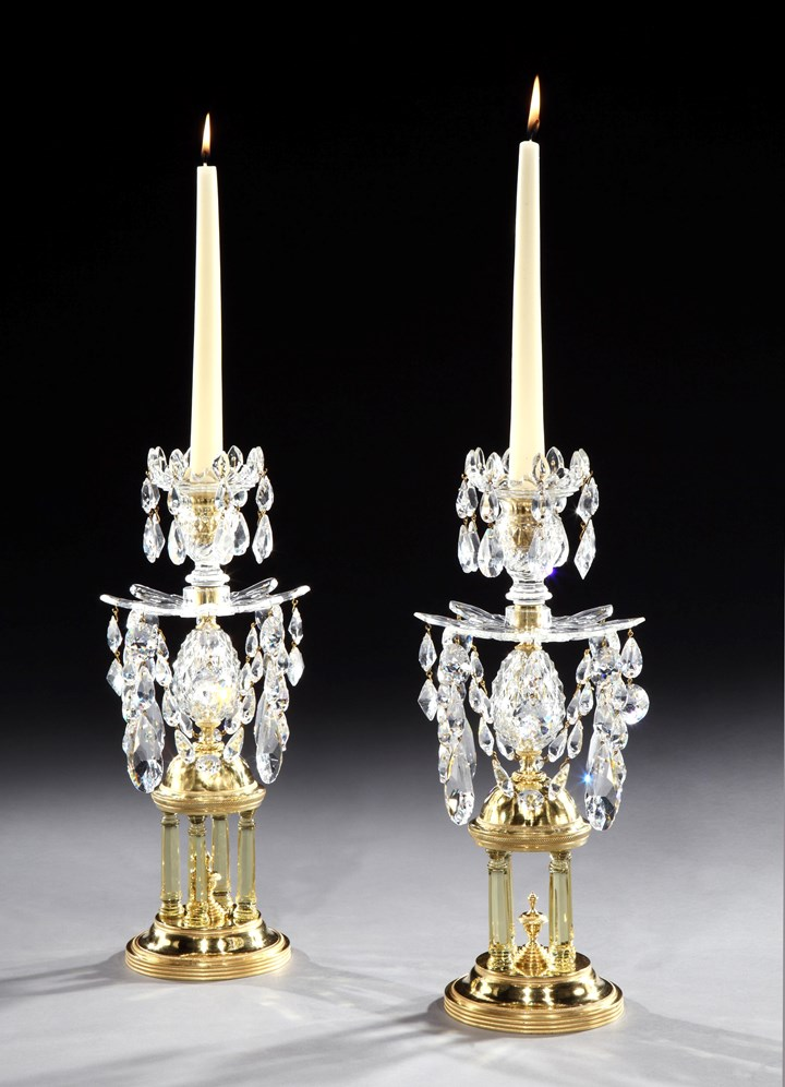 A PAIR OF GEORGE III CUT GLASS TEMPLE CANDLESTICKS