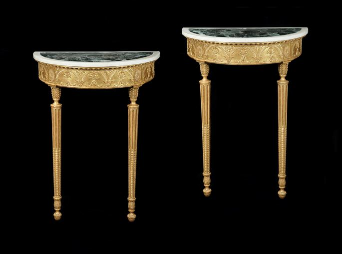 Robert Adam - A PAIR OF GEORGE III DEMI-LUNE GILTWOOD CONSOLE TABLES ATTRIBUTED TO ROBERT ADAM | MasterArt