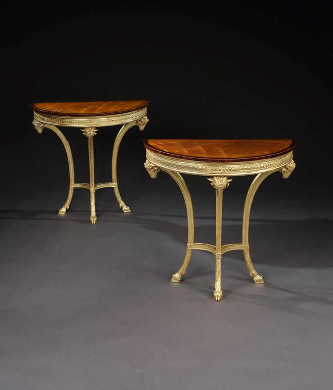 A PAIR OF GEORGE III GILTWOOD AND SATINWOOD PIER TABLES   | MasterArt