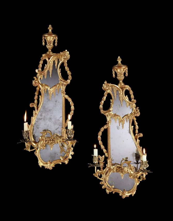 A PAIR OF GEORGE III GILTWOOD TWIN LIGHT GIRANDOLES | MasterArt