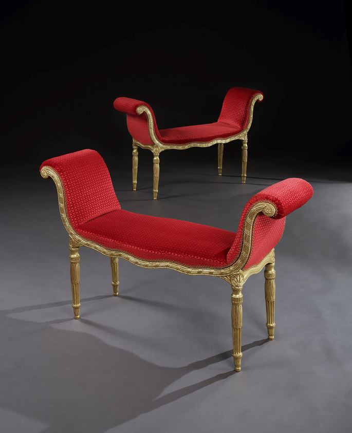 A PAIR OF GEORGE III GILTWOOD WINDOW SEATS | MasterArt