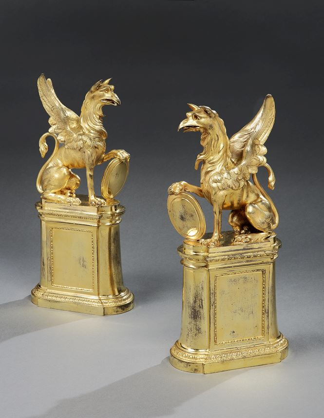 A PAIR OF GEORGE III ORMOLU GRIFFIN CHENETS  | MasterArt