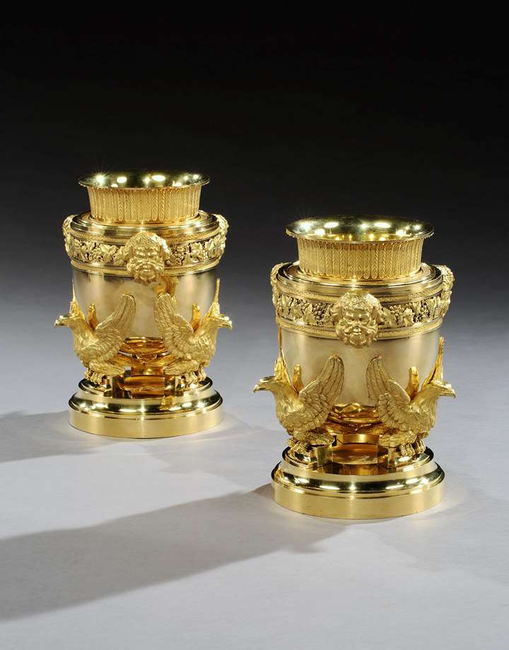 A PAIR OF GEORGE III ORMOLU ICE PAILS BY BENJAMIN VULLIAMY