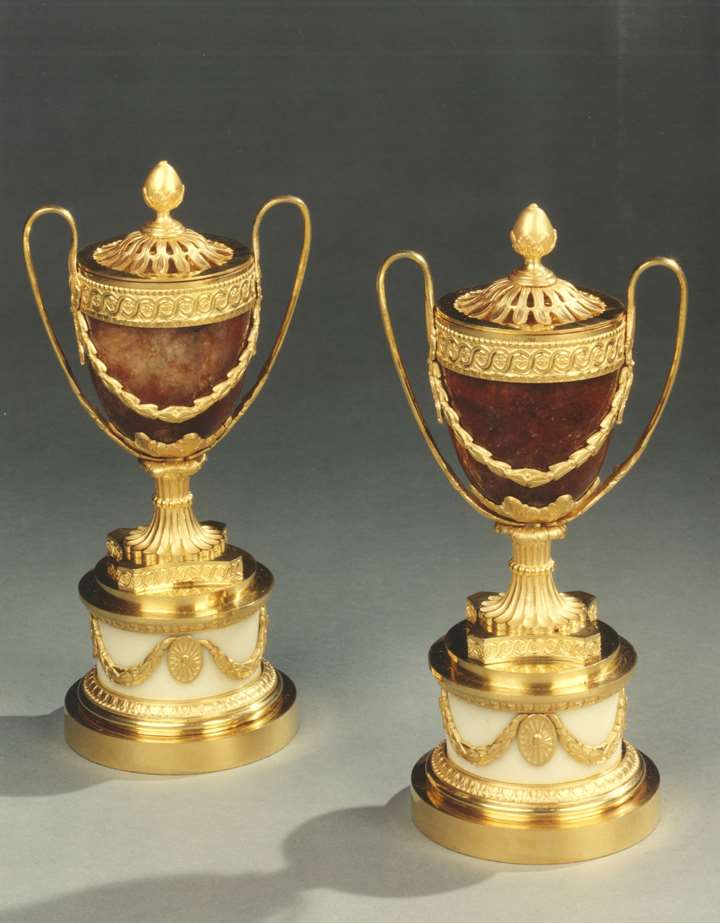 A PAIR OF GEORGE III PERFUME BURNERS