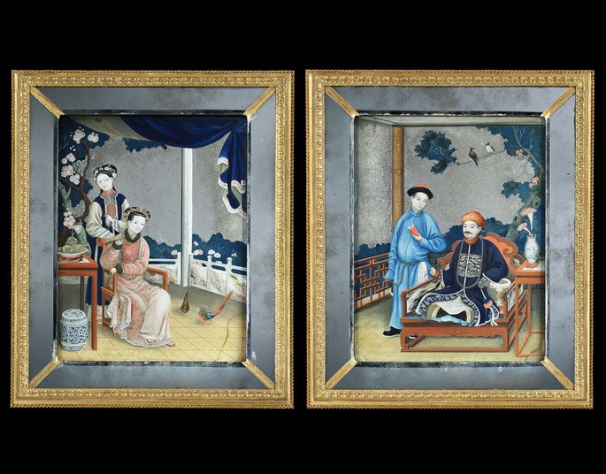 A Pair of George III Period Chinese export mirror Paintings | MasterArt