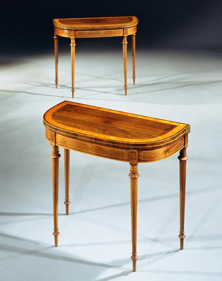 A PAIR OF GEORGE III ROSEWOOD CARD TABLES