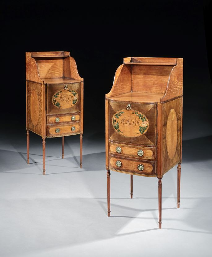 Thomas Sheraton - A PAIR OF GEORGE III SATINWOOD AND HAREWOOD BEDSIDE CUPBOARDS | MasterArt