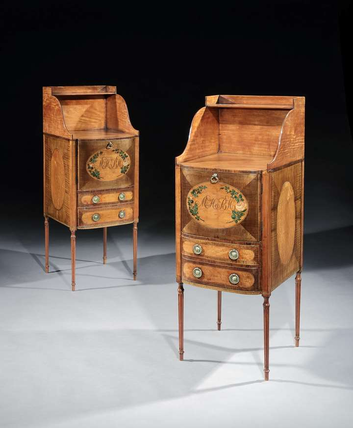 A PAIR OF GEORGE III SATINWOOD AND HAREWOOD BEDSIDE CUPBOARDS