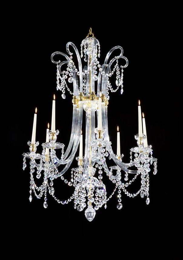 Moses Lafount - A PAIR OF GEORGE III SIX LIGHT ORMOLU MOUNTED CUT GLASS CHANDELIERS | MasterArt