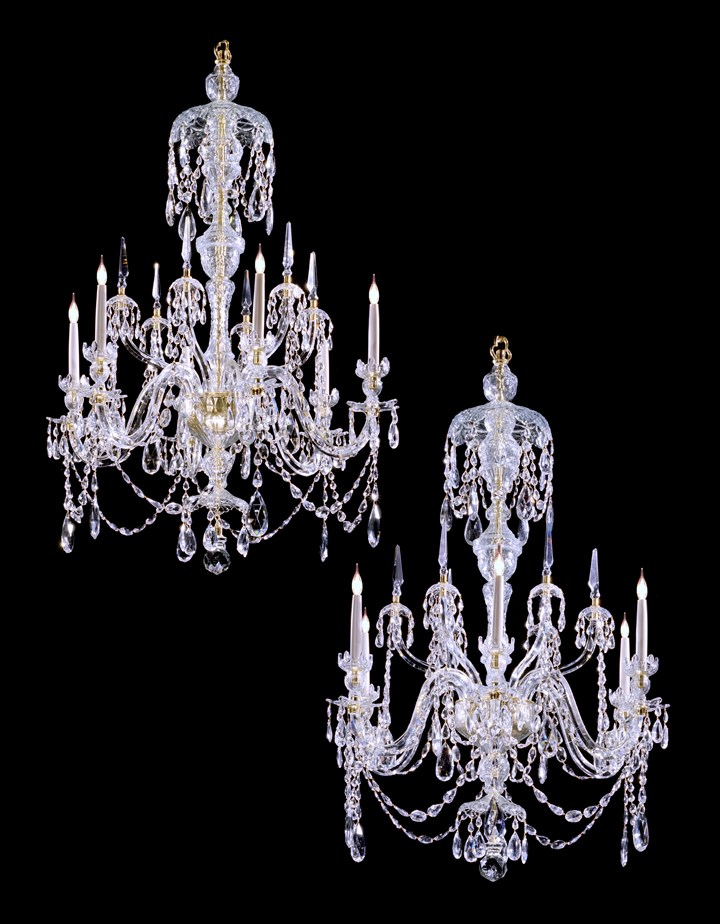 A PAIR OF GEORGE III STYLE CHANDELIERS