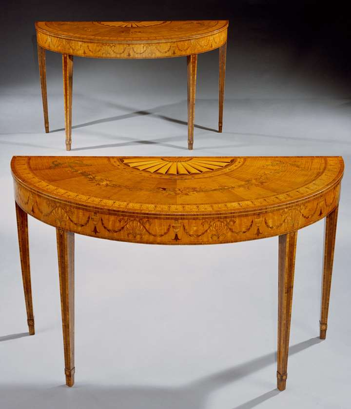 A PAIR OF IRISH GEORGE III SYCAMORE SATINWOOD AND MARQUETRY SIDE TABLES