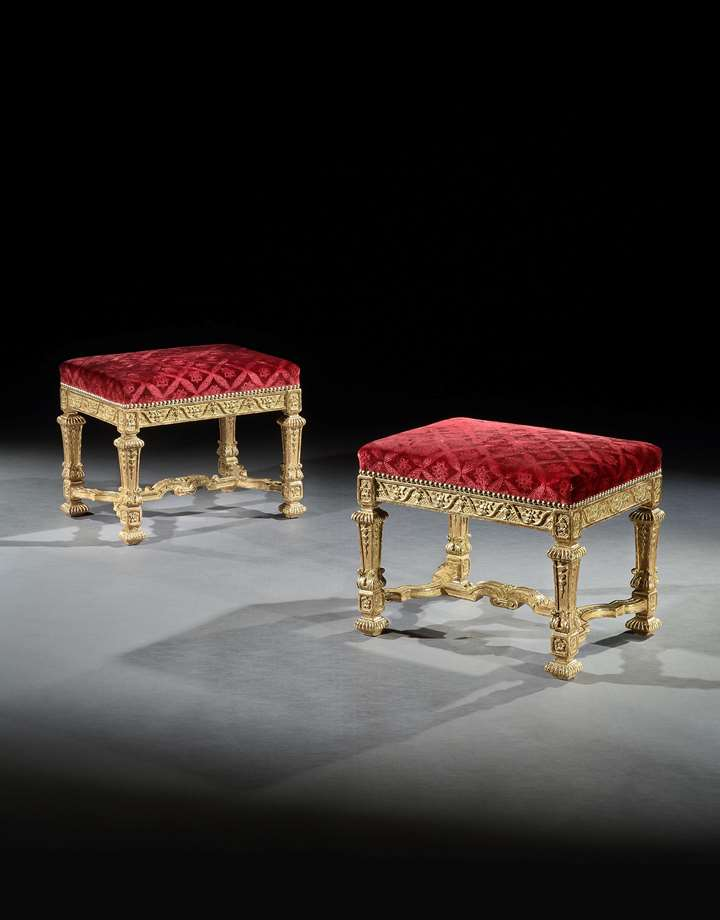 A PAIR OF LOUIS XIV GILTWOOD STOOLS