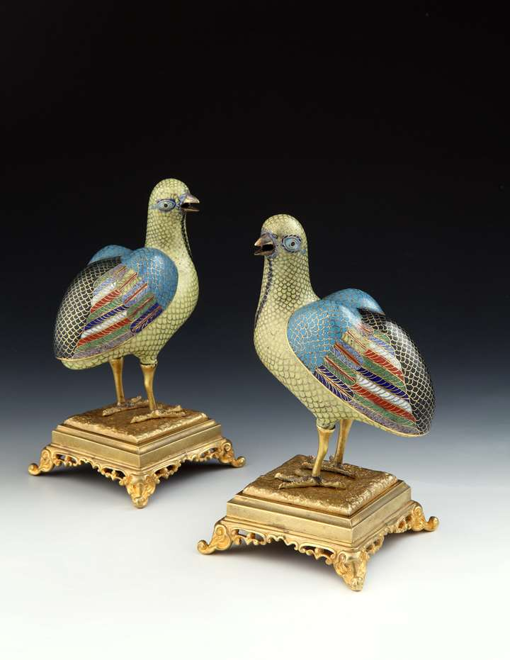 A PAIR OF QIANLONG PERIOD CLOISONNÉ QUAIL INCENSE BURNERS