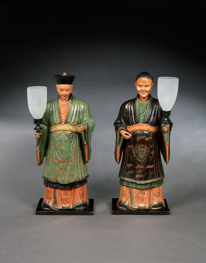 A PAIR OF REGENCY POLYCHROME DECORATED FIGURES OF A MANDARIN AND HIS CONSORT MOUNTED WITH LAMPS | MasterArt