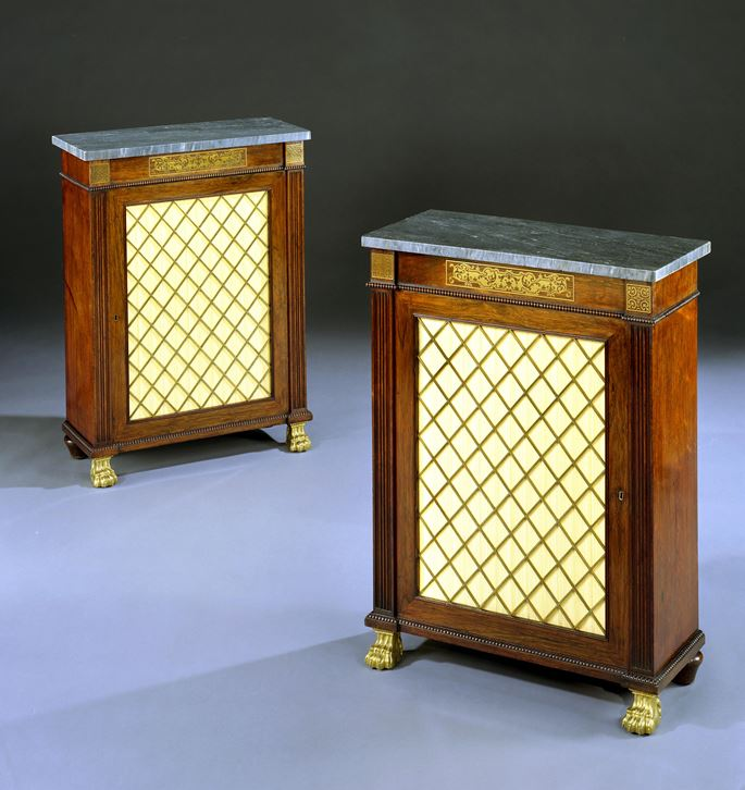 A PAIR OF REGENCY ROSEWOOD SIDE CABINETS | MasterArt