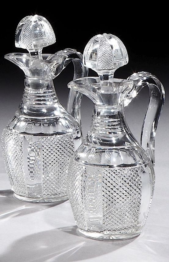 A PAIR OF VICTORIAN SILVER MOUNTED CUT GLASS CLARET JUGS | MasterArt
