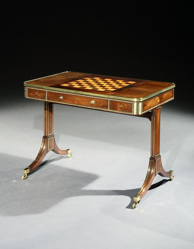 A REGENCY BRASS MOUNTED ROSEWOOD GAMES TABLE | MasterArt