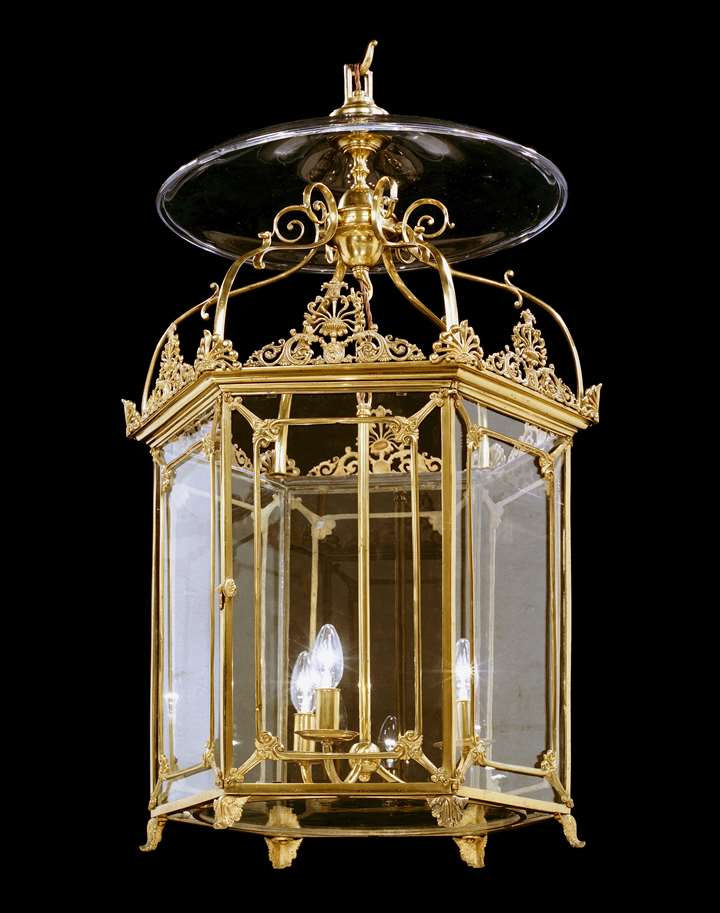 A REGENCY HEXAGONAL BRASS LANTERN