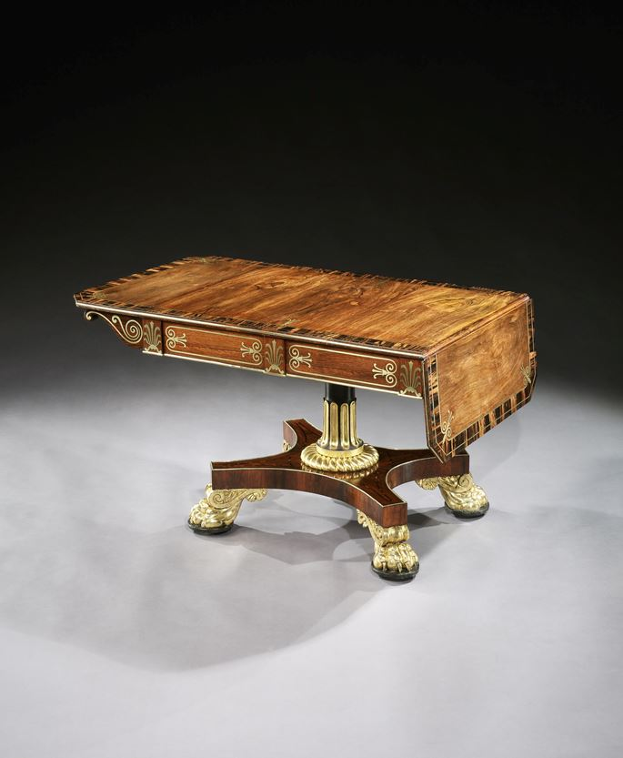 A regency parcel gilt brass inlaid rosewood sofa table | MasterArt