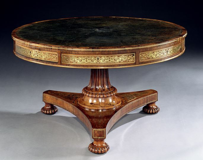 George & Richard Gillow of Oxford Street - A REGENCY ROSEWOOD DRUM TABLE | MasterArt
