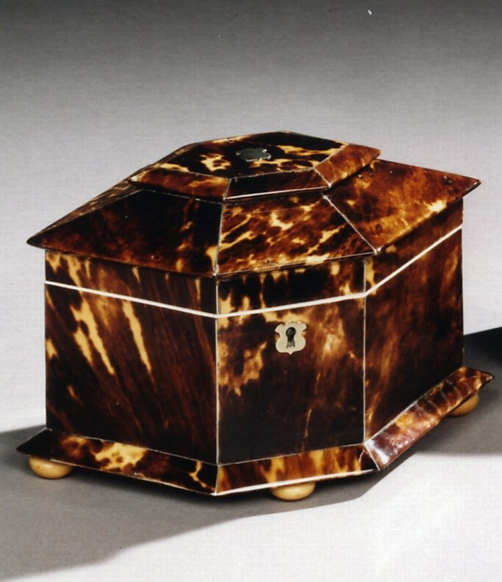 A REGENCY TORTOISESHELL TEA CADDY