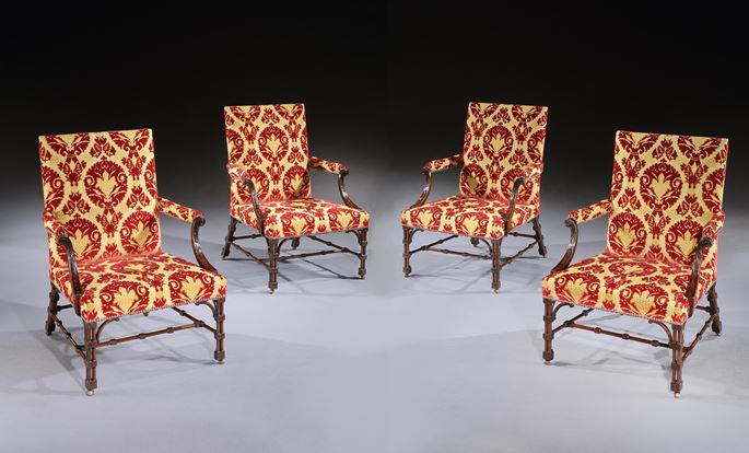 A SET OF FOUR GEORGE III MAHOGANY LIBRARY ARMCHAIRS | MasterArt