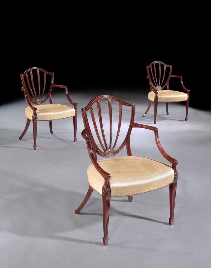 A SET OF SIX GEORGE III MAHOGANY OPEN ARMCHAIRS ATTRIBUTED TO GILLOWS | MasterArt