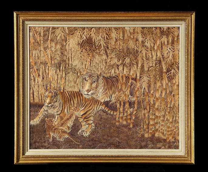 A VICTORIAN PERIOD JAPANESE EMBROIDERED SILK PANEL OF A TIGER FAMILY | MasterArt