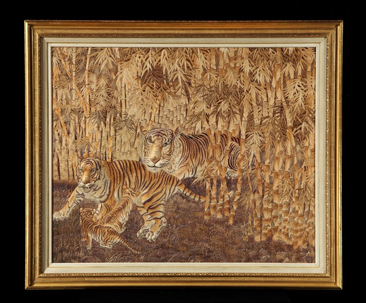A VICTORIAN PERIOD JAPANESE EMBROIDERED SILK PANEL OF A TIGER FAMILY