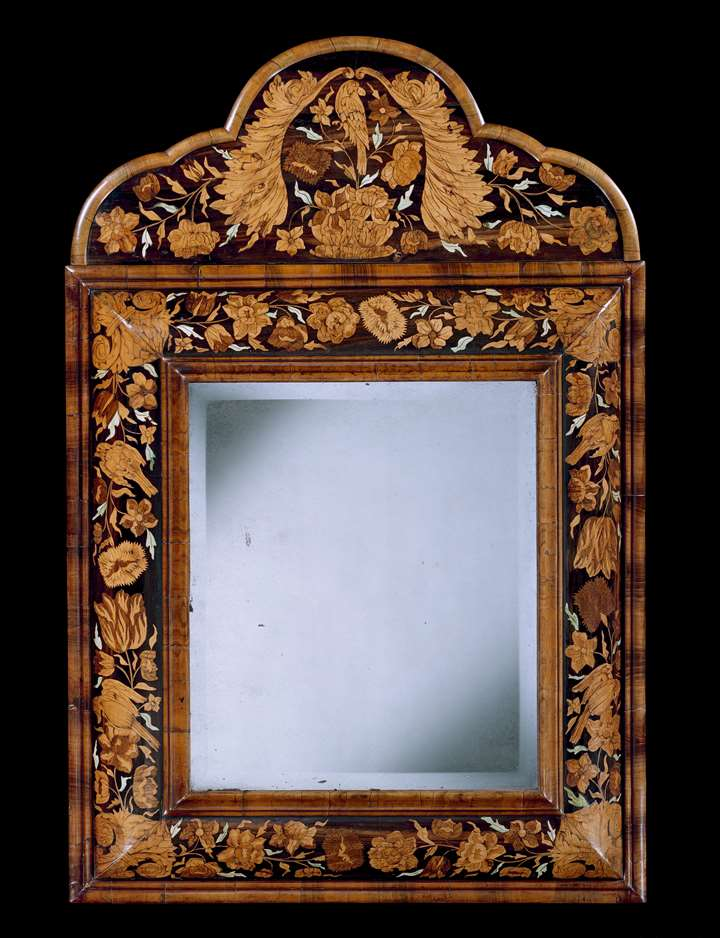 A WILLIAM AND MARY MARQUETRY CUSHION MIRROR