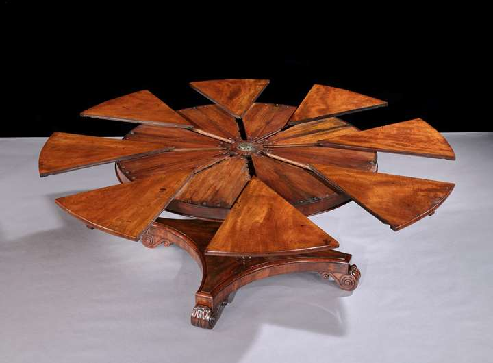 A WILLIAM IV RADIALLY EXTENDING DINING TABLE No. 6391