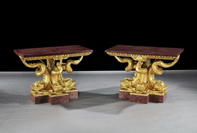 THE BRIDGWATER HOUSE PORPHYRY DOLPHIN TABLEs | MasterArt