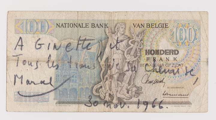 Banknote of 100 Belgian francs
