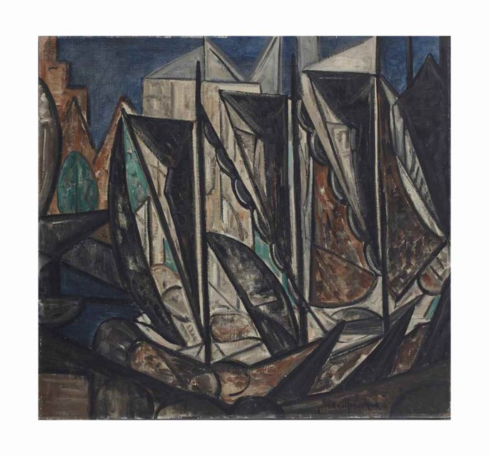Jacoba Van Heemskerck - Composition (Little harbor with boats) | MasterArt