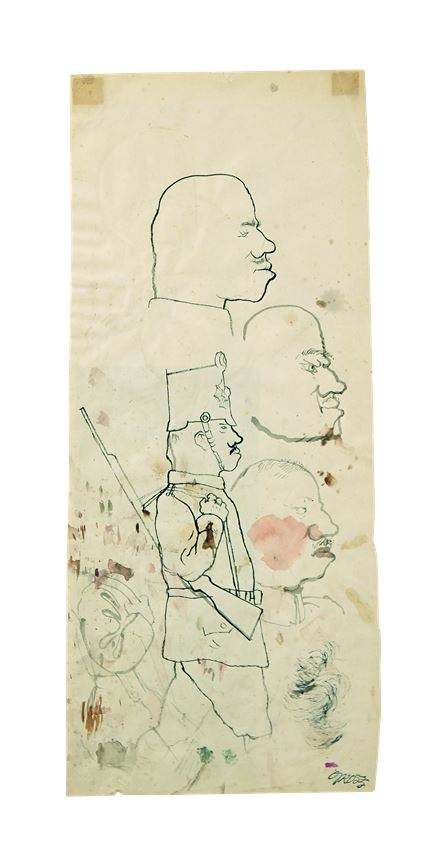 George Grosz - Study of Heads, 1920 Study of a soldier on the reverse        | MasterArt