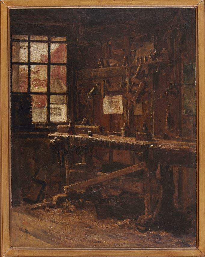 Henri de Braekeleer - Interior of a carpenters workshop | MasterArt