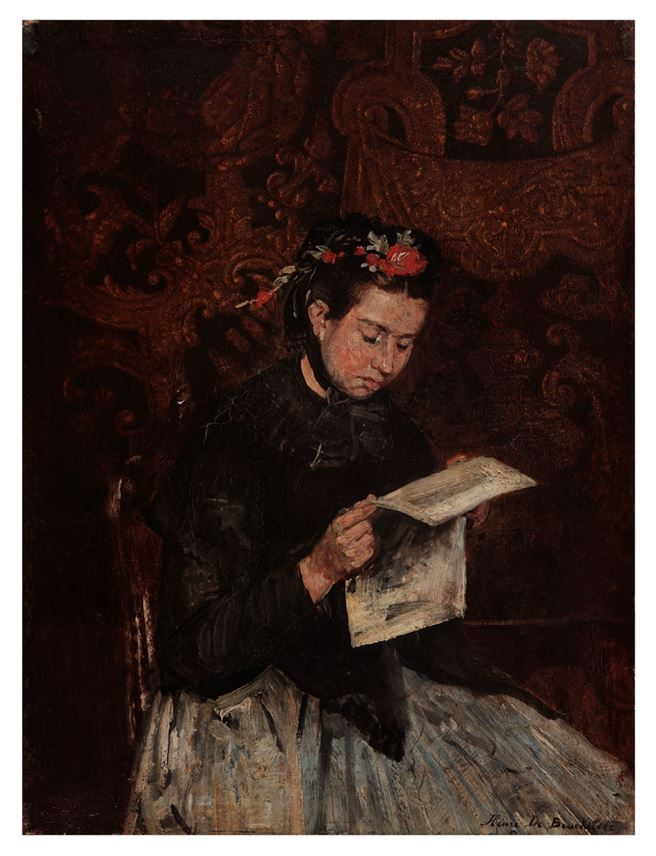 Henri de Braekeleer - Reading girl | MasterArt