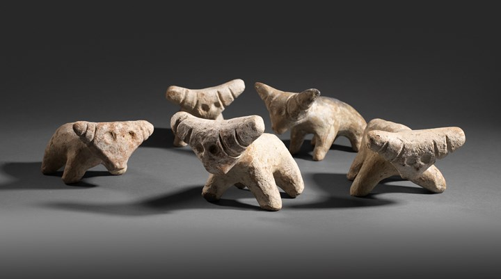 A group of five Anatolian terracotta bulls