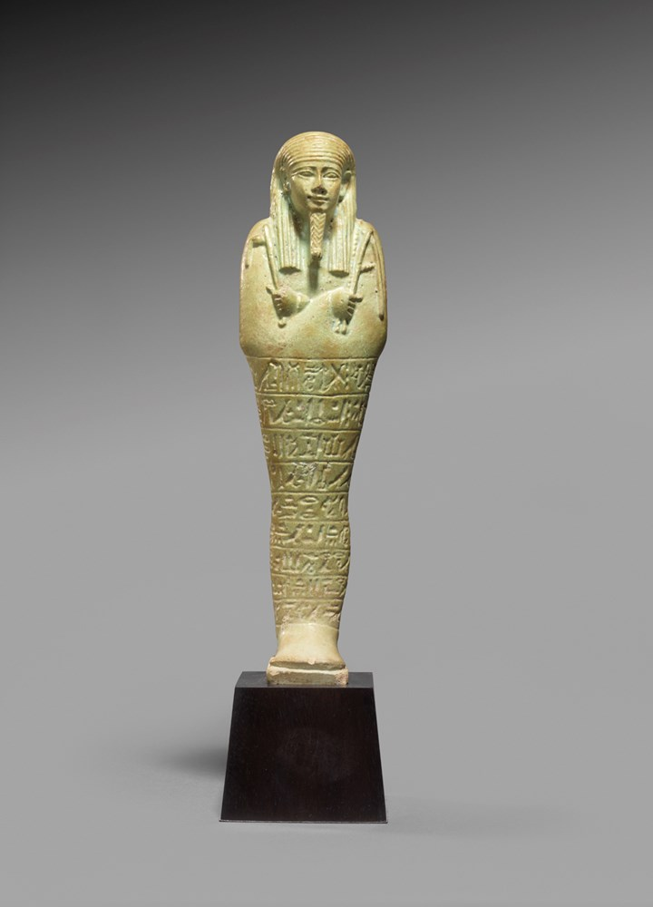Egyptian faience ushabti for Pakhaas born of Tachedidi