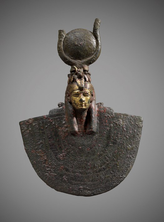 Egyptian gilt-bronze aegis with head of Isis
