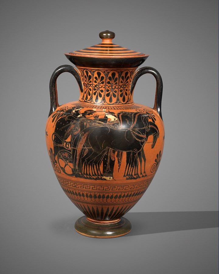 Greek black-figure neck amphora attributed to the Euphiletos painter