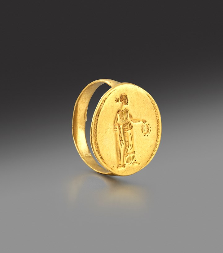 Greek gold ring, perhaps depicting Nike Apteros