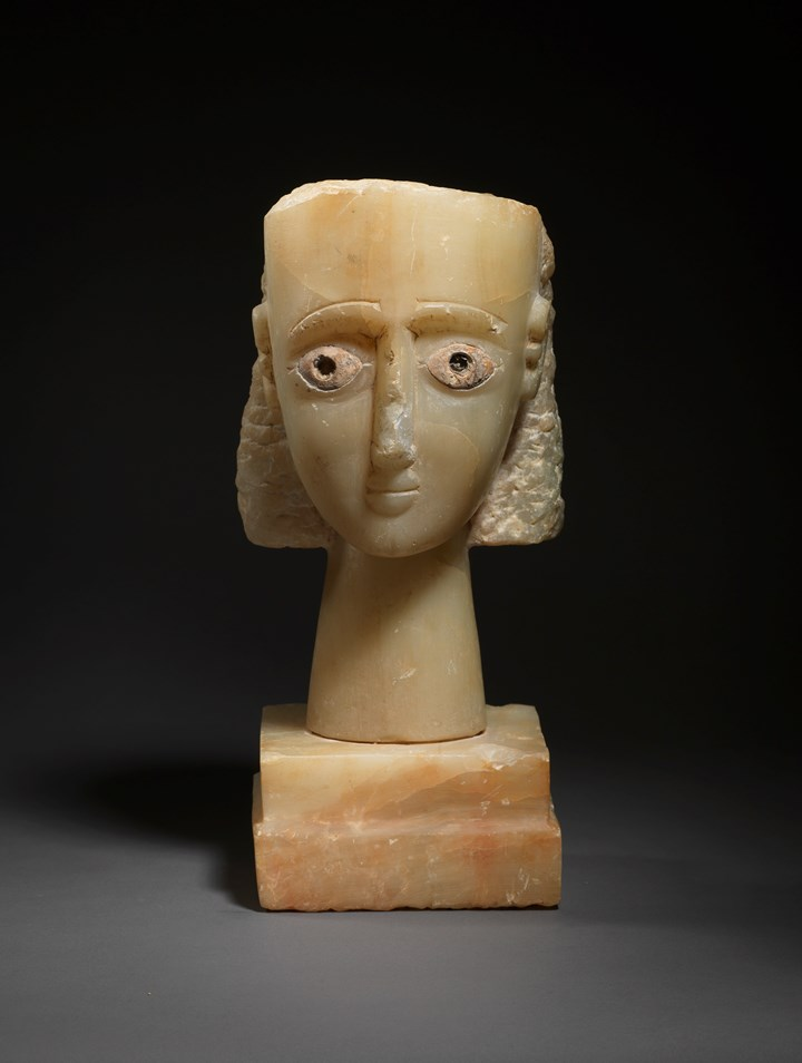 South Arabian alabaster head of a woman