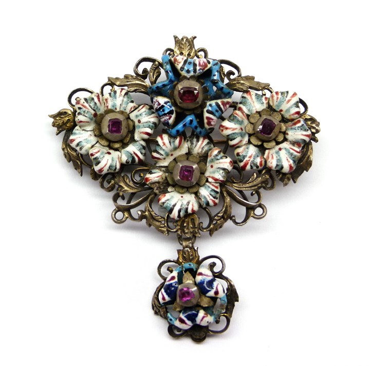 17th century enamel and ruby brooch