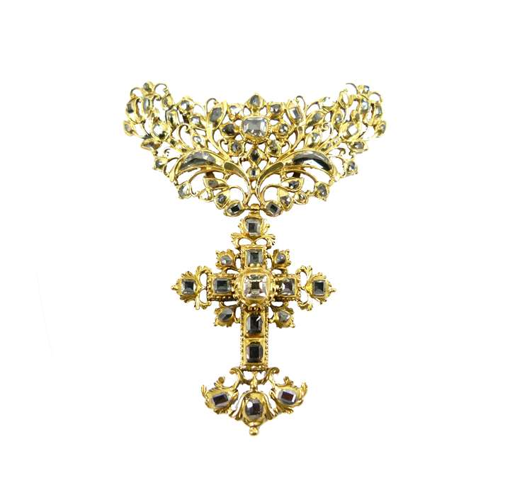 17th century gold and table cut diamond cross pendant, Iberian