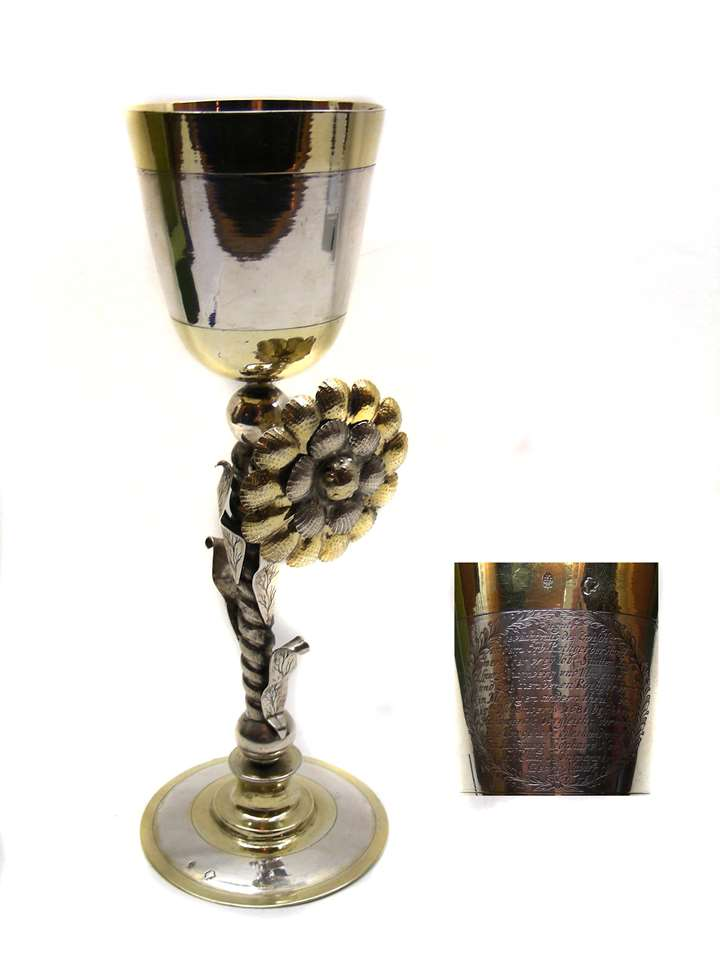 17th century parcel-gilt silver cup  1681, for the Tanner's Guild of Augsburg, Nuremberg and Ulm, the contest of the Tanner's Guild of Memmingen