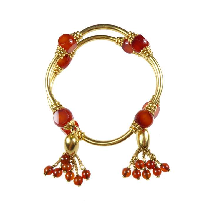 19th century gold and cornelian bead bangle