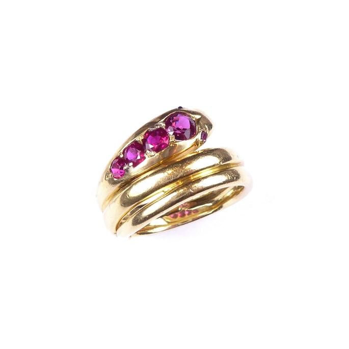 18ct gold and ruby snake ring | MasterArt