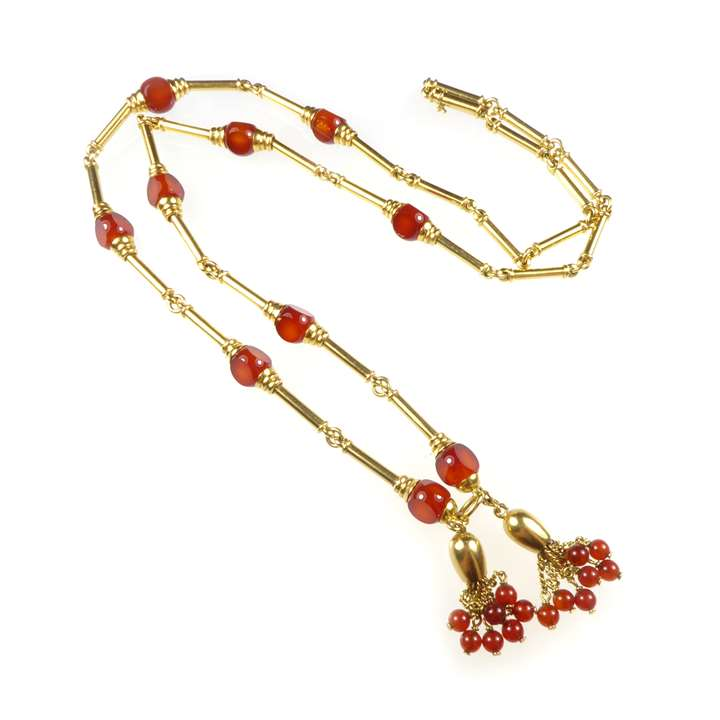 19th century gold baton and cornelian bead necklace